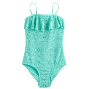 Crochet Flounce One-piece Swimsuit